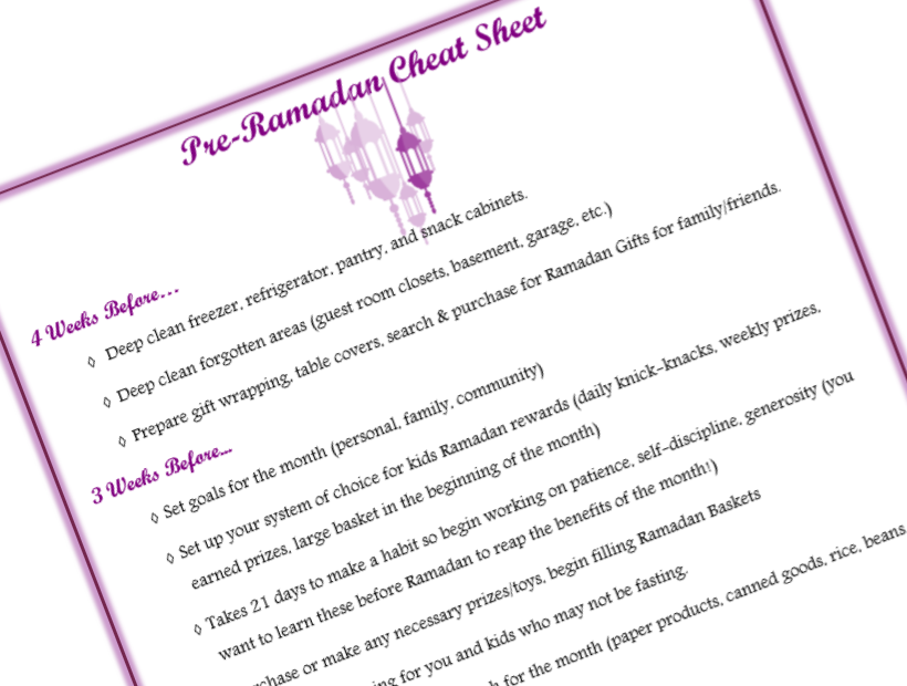 Ramadan Cheat & Prep Sheet